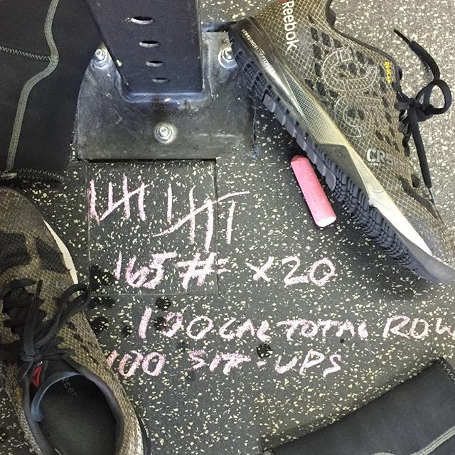 """The """"Axis"""" of Evil 10 ROUNDS Power Clean – 165 # 8 Cal Row (round to 100Cal final Rd.) 10 Sit-ups So this was a @axiscrossfit workout that I modified to make it longer and incorporate some abs. Took me 18:50 but focused on form and not redlining."""