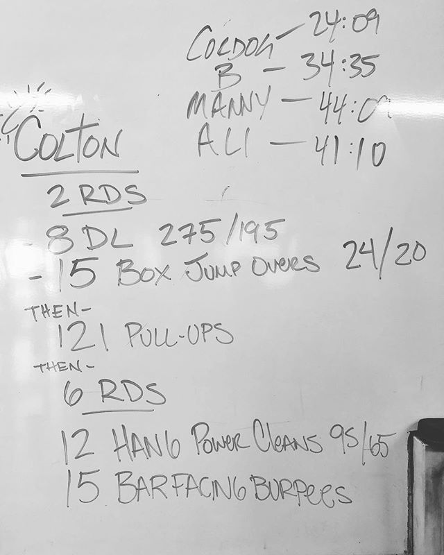 """Colton"" 2 Rounds 8 Deadlifts 275/195 15 Box Jump Overs (24"") Then 121 Pull-Ups Then 6 Rounds 12 Hang Power Cleans (95/75) 15 Bar Facing Burpees @crossfit @crossfitphotojournal"