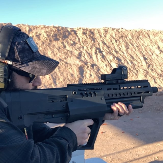 And this is why you wear eye pro. Right at the end you'll see some shrapnel flying back at me from the upper right part of the screen. Got to take in some@of the sights while on assignment with the 5.11 media team at Shot Show. Here I'm shooting the totally BA @iwi.us Tavor TS12 semi-auto bullpup shotgun which has 3 rotating chamber system capable of holding up to a total of 15 Rounds plus.