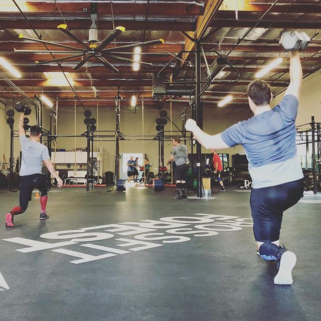 Another Saturday morning in Rancho Santa Margarita @crossfit.forest.rsm Started with 5x6 frontsquats then into a nice 3rd WOD of 80' overhead dumbbell lunges and 3 rope climbs.