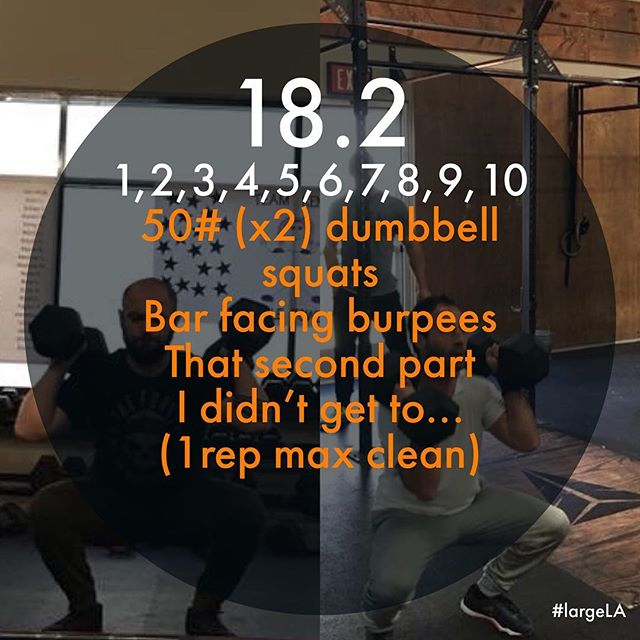 18.2 down in the books. Took too much time on the transition from burpees to dumbbells. 7 burpees shy of finishing part 1. Might try again on Monday. Thanks to @karissaata for grinding this out with me and for Benji and @misschavez4 for being my support network. I hate cheering but it did help. @crossfitforest.rsm