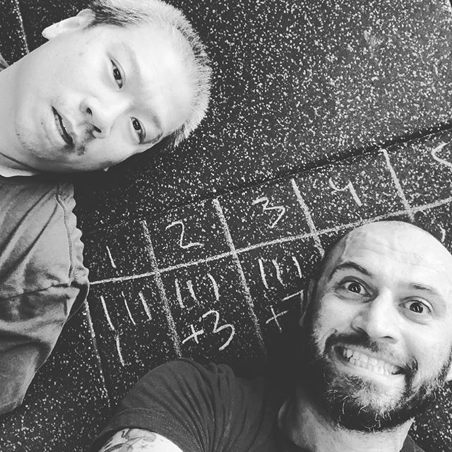 "Me and the man Heru got down @theforgecf at the @511tactical dev center. Putting in work following @crossfitforest.rsm 's WOD Warmin up with a 10 EMOM of: 2 Power Cleans (135 #) Then... ""The Chief"" 5 cycles of 3min AMRAPs of: 3 Power Cleans 135/95 6 Push-UPS 9 Air Squats 1 minute rest between each cycle. RX for a total of 17rds + 22leftovers 4 - 3+3 - 3+7 - 3+11 - 4+1"