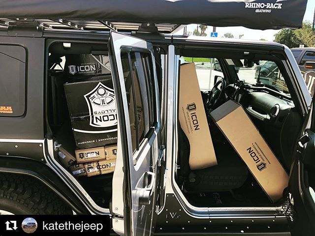 @katethejeep with @get_repost ・・・ How do you fit 5 @iconalloys Rebounds and an entire front and rear suspension setup by @ivdsuspension into the @511tactical Jeep with an entire @goosegear setup in the rear? Good products + good people = a good project.