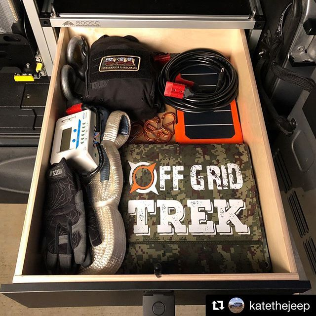 @katethejeep with @get_repost ・・・ Who's getting ready for the weekend!? . . . Our @goosegear drawer module easily fitting some trail necessities. @511tactical UCR IFAK med kit with @northamericanrescue goods inside, the yet unreleased 5.11 High Abrasion gloves, @offgridtrek 200W solar panel (yup that's the green square folded up to a height that's shorter than our drawer) and their 28W personal folding panel we throw on our bag when we hike. . . . @castlefab @511tactical @rigdsupply . . @largela