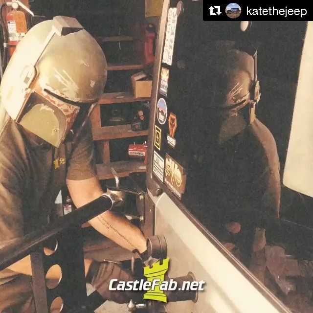 @katethejeep with @get_repost ・・・ Boba Fett ain't having it when he's wrenching on @katethejeep @castlefab